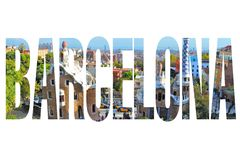 Barcelona sign. Barcelona, Spain - city name sign with photo in background. Isolated on white Stock Photo