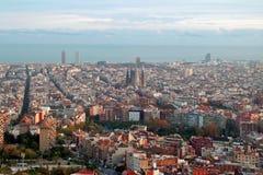 Barcelona sikt från & x22; el-carmel& x22; arkivbilder