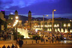 Barcelona. Singing fountains of Montjuic Stock Images