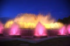 Barcelona Sjungande springbrunnar av Montjuic Fotografering för Bildbyråer