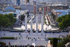 Barcelona Sjungande springbrunnar av Montjuic Royaltyfri Foto