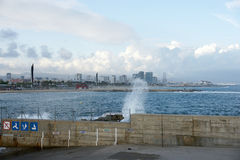 Barcelona sky line. From the port Stock Photography