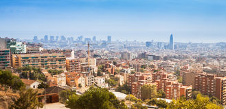 Barcelona Skyline. Panoramic view of Barcelona Skyline. Spain royalty free stock photo
