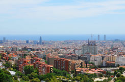 Barcelona skyline. As seen from the Park Guell royalty free stock photos