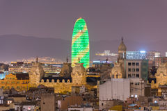 Barcelona Skyline. Aerial view of the Barcelona Skyline at night in Catalonia, Spain stock images