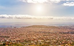 Barcelona skyline city streets panoramic view, Spain. Aerial view over the capital of Barcelona skyline panoramic view, Spain landmark capital Catalonia city royalty free stock image