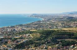 Barcelona skyline and coast stock images