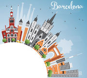 Barcelona Skyline with Color Buildings, Blue Sky and Copy Space. Royalty Free Stock Photo