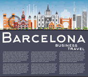 Barcelona Skyline with Color Buildings, Blue Sky and Reflections Royalty Free Stock Photography