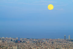 Barcelona skyline at dusk Royalty Free Stock Image