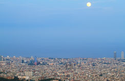 Barcelona skyline at dusk Stock Photo