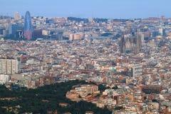 Barcelona skyline at dusk Stock Photos