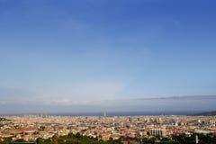 Barcelona skyline horizon from Tibidabo. Barcelona skyline horizon high view with sea from up Tibidabo mountain stock photo