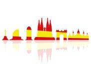 Barcelona skyline illustrated Stock Images