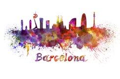 Barcelona-Skyline im Aquarell lizenzfreie abbildung