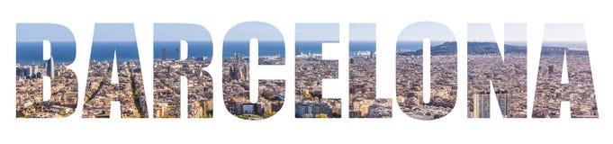 Barcelona Skyline lettetrs Stock Photos