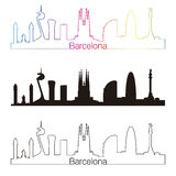 Barcelona skyline linear style with rainbow Royalty Free Stock Images