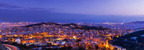 Barcelona skyline with Mediterranean Sea Stock Image