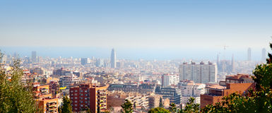 Barcelona skyline with Mediterranean sea view Royalty Free Stock Photos