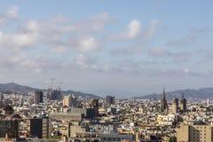 Barcelona skyline from Montjüic. Barcelona skyline Sagrada Familia and Basilica from Montjüic stock images
