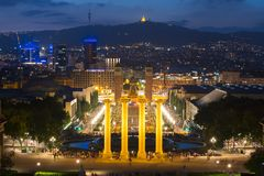 Barcelona skyline from Montjuic hill at sunset, Spain stock images