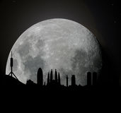 Barcelona skyline at moonlight Royalty Free Stock Photos