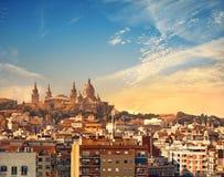Barcelona skyline with National Museum Museu Nacional d`Art de. Catalunya on the sunset, panoramic image stock photography