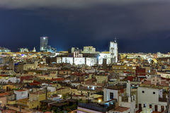 Barcelona Skyline. At night in Catalonia, Spain stock photos