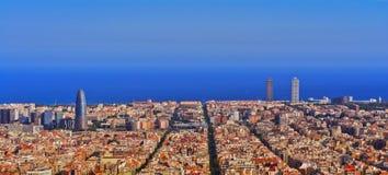 Barcelona skyline night. Panorama view of Barcelona skyline, Catalonia, Spain stock photography