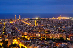 Barcelona skyline night. Barcelona skyline at night, view from the Bunkers del Carmel stock image