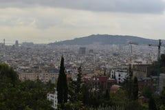 Barcelona Skyline. Barcelona overlooking the skyline and the Port stock photos
