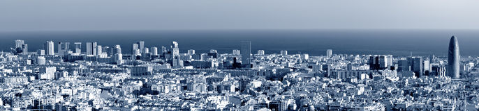 Barcelona skyline panorama. Blue toned Royalty Free Stock Photo
