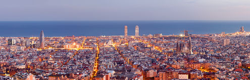 Barcelona skyline panorama. At the Blue Hour Royalty Free Stock Image