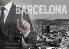 Barcelona skyline panorama concept background Royalty Free Stock Photos