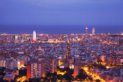 Barcelona skyline panorama at night. During blue hour stock photography