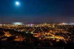 Barcelona skyline panorama at night from Turo Rovira, Catalonia, Spain.  stock photography