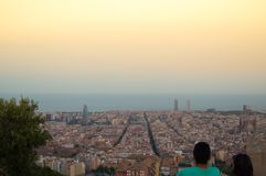 Barcelona skyline panorama from Turo Rovira, Catalonia, Spain. Agbar, architecture, building, city, cityscape, europe, mediterranean, night, sea, skyscraper royalty free stock photos