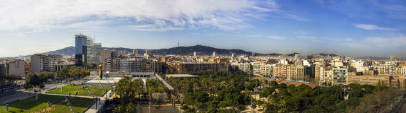 Barcelona skyline. Panoramic view of Barcelona from Bullring Arenas building, March 10, 2014 Stock Photo