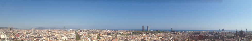 Barcelona skyline. Panoramic view of the city of Barcelona with the Sagrada Familia, Agbar tower, La rambla, Hotel arts, Hotel vela (W hotel) and the stock images
