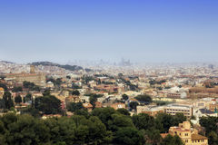Barcelona skyline. Panoramic view of Barcelona from the mountains, spring time, Spain Stock Image