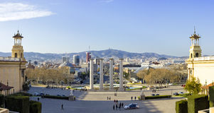 Barcelona skyline. Panoramic view of Placa De Espanya and fountain from Montjuic hill, Barcelona, March 10, 2014 Stock Image