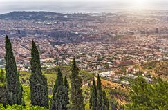 Barcelona skyline panoramic view, Spain. Traditional countryside and landscapes of beautiful Barcelona skyline city streets, Spain royalty free stock images