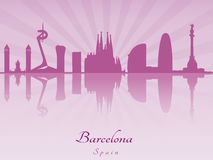 Barcelona skyline in purple radiant orchid Royalty Free Stock Images