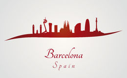 Barcelona skyline in red. And gray background in editable vector file Royalty Free Stock Image