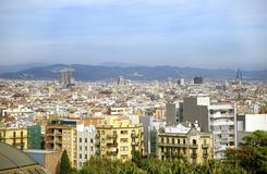 Barcelona Skyline with Sagrada royalty free stock photography