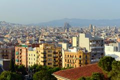 Barcelona skyline and Sagrada Familia, Spain Royalty Free Stock Photos