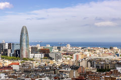 Barcelona skyline with sea. Barcelona urban skyline with sea construction cranes modern buildings stock images