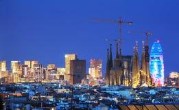Barcelona skyline, Spain. Barcelona skyline, late evening, Spain stock images