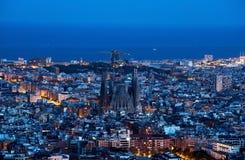 Barcelona skyline, Spain. Neon lights of the night city royalty free stock photos