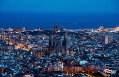 Barcelona skyline, Spain. Barcelona skyline, Night city. Spain royalty free stock photos